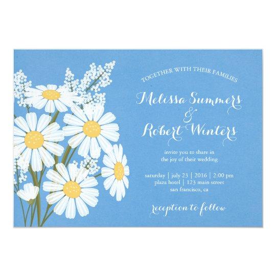 Elegant Floral White Daisies Blue Wedding Card