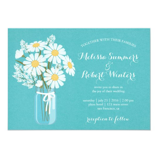 Elegant Floral White Daisies Mason Jar Wedding Card