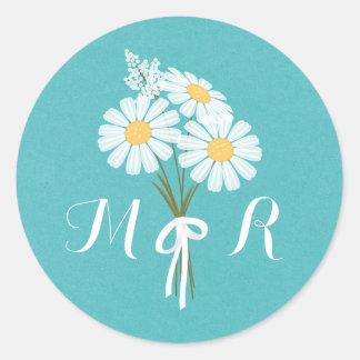 Elegant Floral White Daisies Monogram Wedding Classic Round Sticker