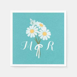 Elegant Floral White Daisies Monogram Wedding Paper Napkin