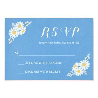 Elegant Floral White Daisies on Blue RSVP Wedding 9 Cm X 13 Cm Invitation Card