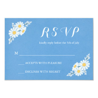 Elegant Floral White Daisies on Blue RSVP Wedding Card