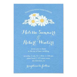 Elegant Floral White Daisies on Blue Wedding 13 Cm X 18 Cm Invitation Card