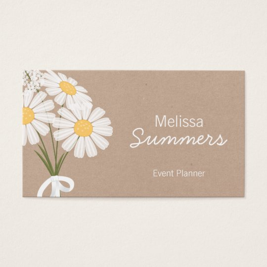 Elegant Floral White Daisies Rustic Business Card