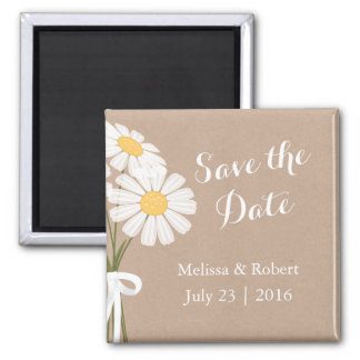 Elegant Floral White Daisies Save the Date Wedding Square Magnet