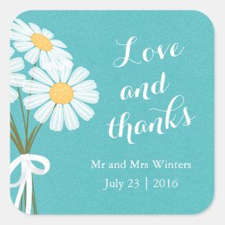 Elegant Floral White Daisies Thank You Wedding Square Sticker