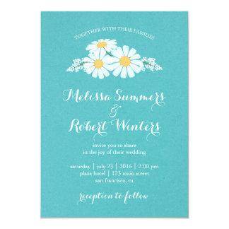 Elegant Floral White Daisies Wedding Card