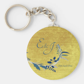 Elegant Floral with Gold and Blue colored Wedding Key Ring