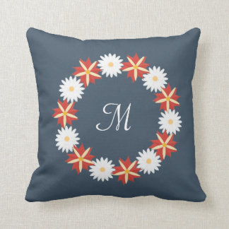 Elegant Floral Wreath - Monogram Cushion