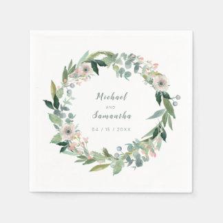 Elegant Floral Wreath Wedding Napkins Disposable Serviette