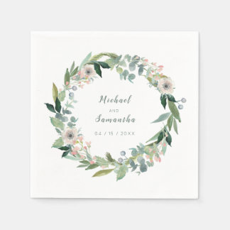 Elegant Floral Wreath Wedding Napkins Paper Napkin