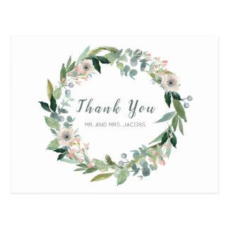 Elegant Floral Wreath Wedding Thank You Postcard