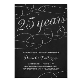 Elegant Flourish | 25th Anniversary Party 13 Cm X 18 Cm Invitation Card