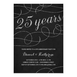 Elegant Flourish   25th Anniversary Party 13 Cm X 18 Cm Invitation Card