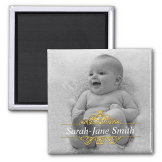 Elegant Flourish Baby Photo Keepsake - Yellow Square Magnet