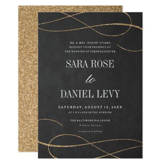 Elegant flourish gold faux glitter wedding invite