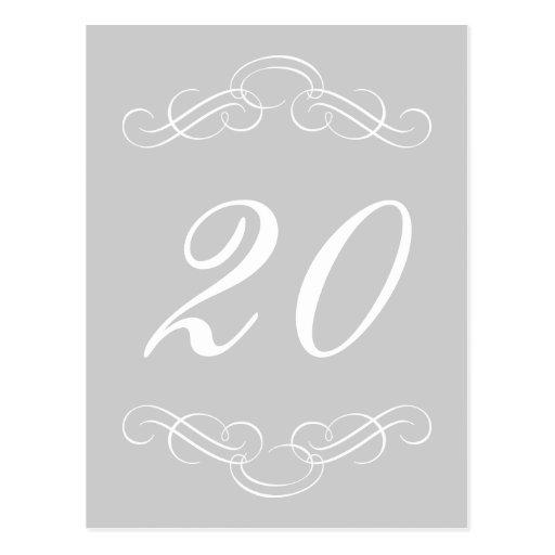 Elegant Flourish Table Numbers (Silver / White) Postcards