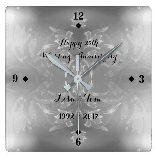 Elegant Flower 25th Silver Wedding Anniversary Square Wall