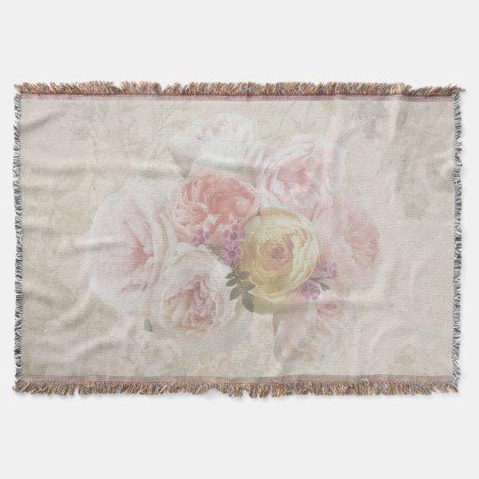 Elegant Flower Bouquet Vintage Throw Blanket