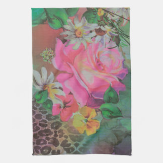 elegant flower floral cheetah Kitchen Towel