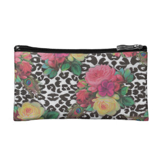 elegant flower floral cheetah Pattern Cosmetic bag