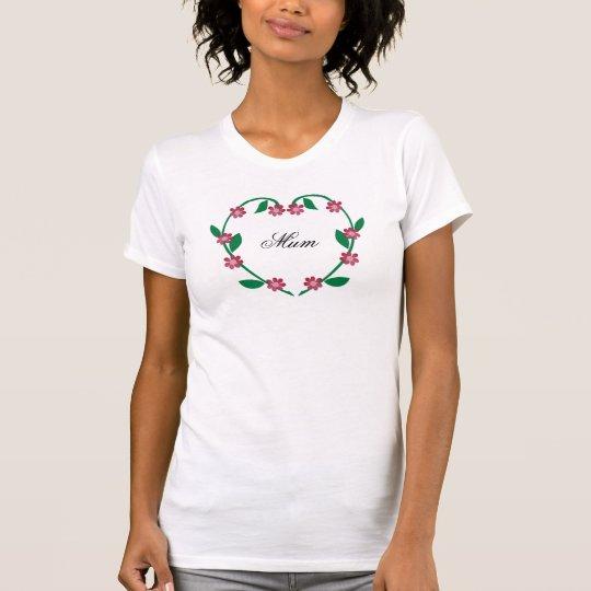 Elegant Flower Heart-Mum T-Shirt