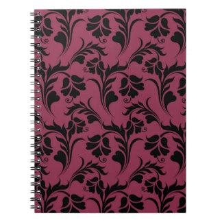 Elegant flower pattern spiral note book