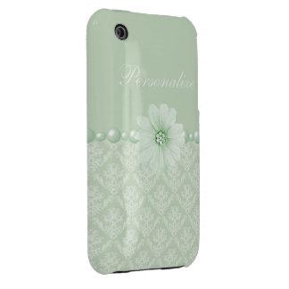 Elegant Flower & Pearls Damask Pattern iPhone 3 Case-Mate Case