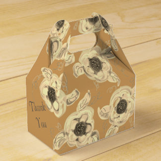 Elegant Flowered Favor Box With Grey