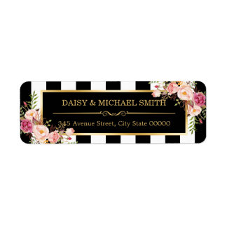 Elegant Flowers Black White Stripes Gold Frame