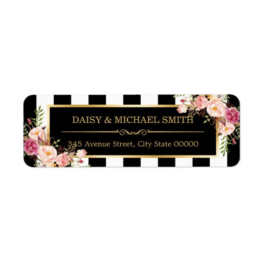 Elegant Flowers Black White Stripes Gold Frame Return
