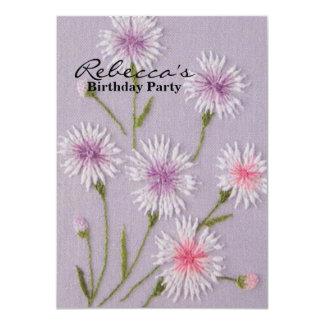 Elegant Flowers Embroidery 11 Cm X 16 Cm Invitation Card