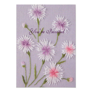 Elegant Flowers Embroidery 13 Cm X 18 Cm Invitation Card