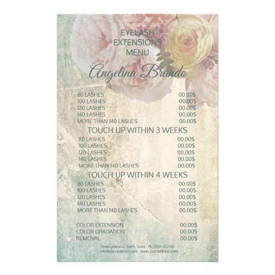 Elegant Flowers Eyelash Menu Vintage Price List