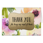 Elegant Flowers Gold Maid Of Honour Thank You Greeting Card