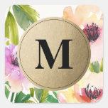 Elegant Flowers Gold Monogram | Favour Labels Square Sticker