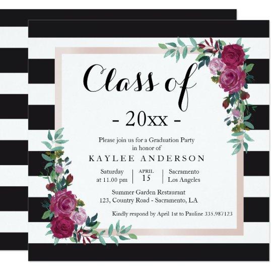 Elegant flowers Graduation Party invitation
