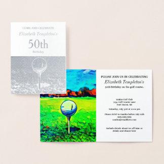 Elegant Foil  Golfing Birthday Themed Invitations