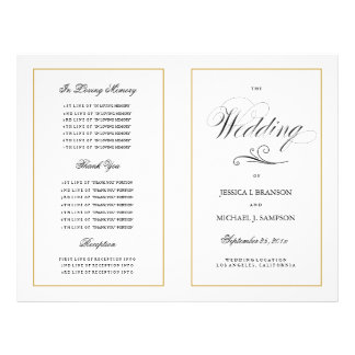 Elegant Folding Wedding Program Solid Gold Border Flyer
