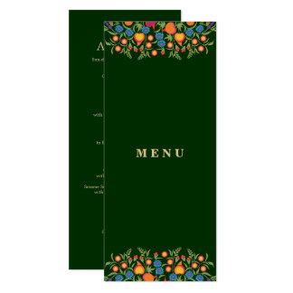 Elegant Folk Art Design Custom Menu Cards