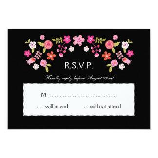 Elegant Folk Floral Wedding RSVP Card 9 Cm X 13 Cm Invitation Card