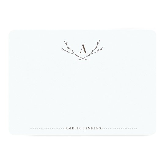 Elegant Forest Monogram Stationery Flat Cards