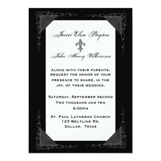 Elegant Formal Black and White Wedding Invitation