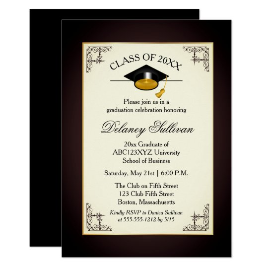 Elegant Formal Gold College Graduation Party Card