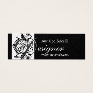 Elegant Formigable Monogram Damask Mini Business Card