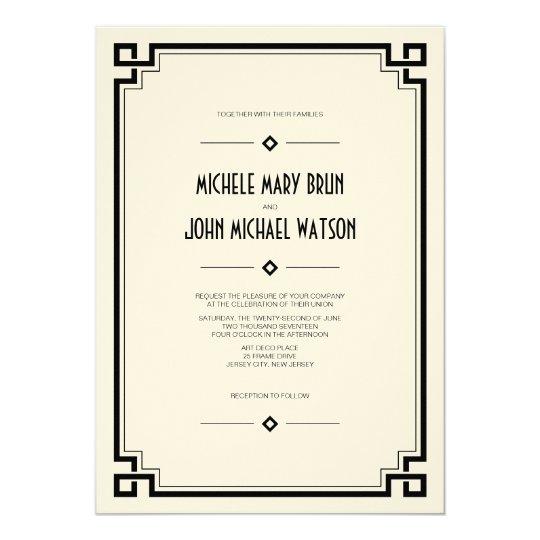 Elegant Frame Art Deco Wedding Invitation