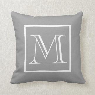 Elegant Frame Gray Background Monogram Cushion