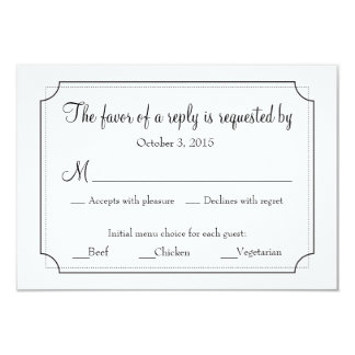 Elegant Frame Response Card with Menu Choices