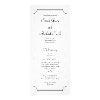 Elegant Frame Wedding Program Rack Card