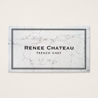 Elegant French Chef Catering Subtle White Marble Business Card
